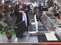 Office pawner facialized after fucking broker