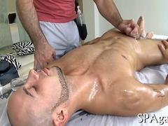 Hairy hunk gets jacked off and fucks during massage