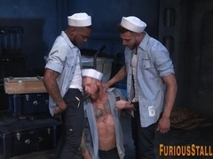 Ripped sailor in threeway