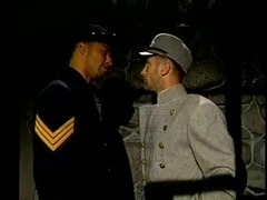 Horny poofter gives a blowjob to a cop in a prison