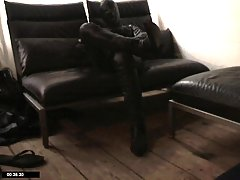 Guy Dressed In Latex Suit Whacking Off