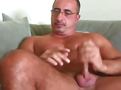 Hunk daddy making a mess in his chest