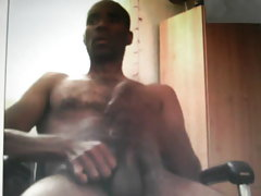 Black guy with long horse cock jerking om cam