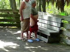 Chubby fucks silver daddy outside