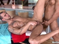 Tattooed queer gets banged by his handsome muscular BF