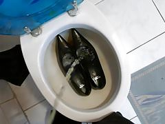 Piss in wifes pointy kitten heels