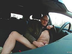 German daddy wanking in car