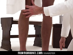 Handsome older priest fucks tall hairy boy in temple