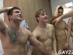 Group of college boys wank each others raging boners like pros