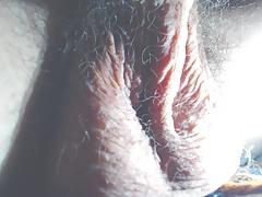 Hairy balls close-up orgasm