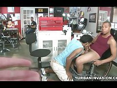 Pyblic Gay Paid Sex at the Tattoo Shop