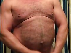 Sexy Daddy Bear Jerking Off In the Bathroom