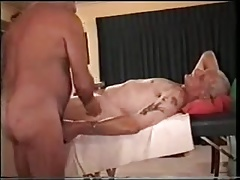 Two old mature grandpa playing with each other