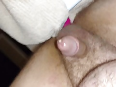 Stretching my ass with a big pink dildo