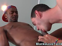 Twink gets bbc cum facial