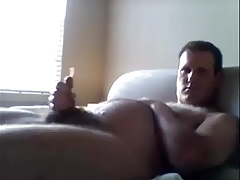 chubby dad cums on his belly