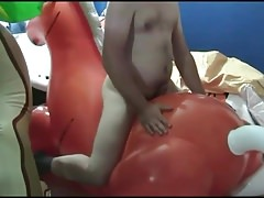 Red inflatable horse ride humping cum
