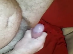 hairy man masturbate and cum with toy in ass