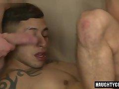 Latin gays threesome and cumshot