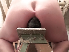 ass stretching session with his giant butt plug