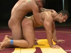Two handsome well-built gays bang on tatami after having a battle