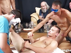 Sporty guy gets fucked by multiple men