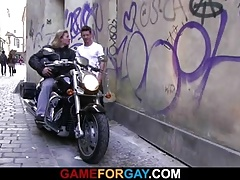 A guy seduces hunky biker into gay sex