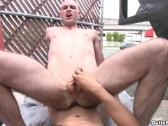 Bald queer gives a blowjob to Asian dude and rides his cock