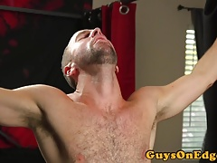 Blindfolded edging bdsm sub jerked by dom