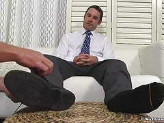 Dominant yuppie Cameron Kincade enjoys being foot worshipped