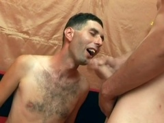 Hairy gay skank blows and gets his asshole banged from behind
