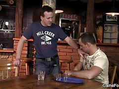 He fucks hetero bartender right on the table