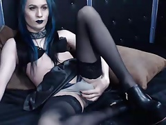 Goth Tgirl Plays on Cam