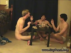 Nude boy trio at the table