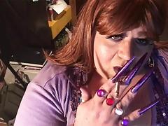 BBW Sissy - Smoking with long nails
