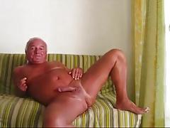 Handsome man has fun at wanking