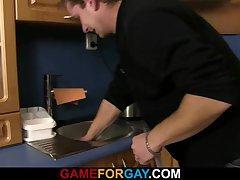 Gay man seduces hetero plumber