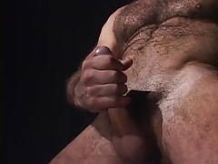 Hairy gay jerks his big cock