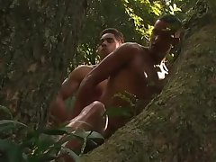 Latino gays have sex in the forest