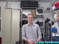 Straight blonde guy rides black cock for job
