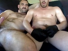 two hot daddy boyfriends with big dicks jerk off