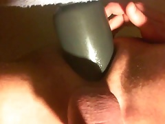 Anal workout with large American Bombshell Shell Shock toy