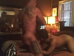 Older and younger fuck on bed