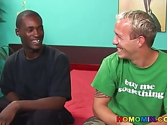 A funny white guy and a hung black stud having sex