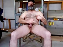 Cigar smoking bear jacking his cock