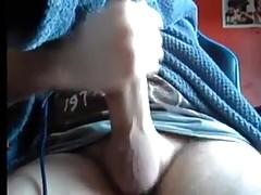 Brit lad stroking uncut meat