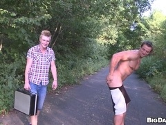Blond homo Alex gets his ass smashed in a park and enoys it