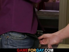 He lures him into gay blowjob and sex
