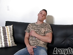 Good looking Aston Springs wanking his soldier dick hard