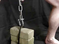 CBT Pain - Balls Stretched by 20lbs